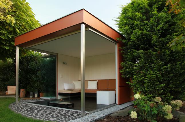 Hochwertige Garten Lounge gläserner Gartenpavillion edel